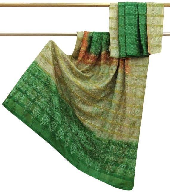 Free Shipping Antique Vintage Green SAREE Pure Georgette  Sari Wrap Floral Printed FABRIC INDIAN Sarong Craft Clothing Scrap Art Fabric