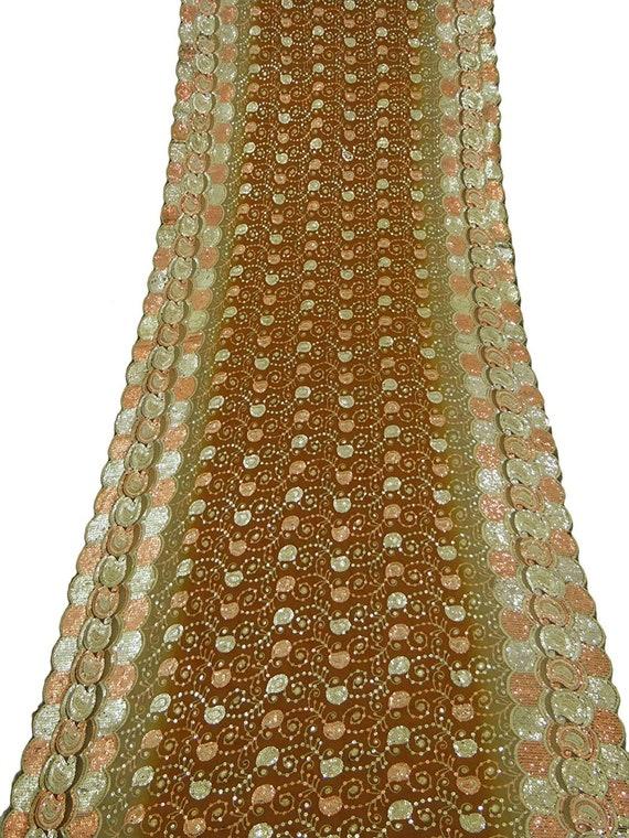 a153a62b8489 Vintage Dupatta écharpe longue indienne tissu brodé voile brun   Etsy