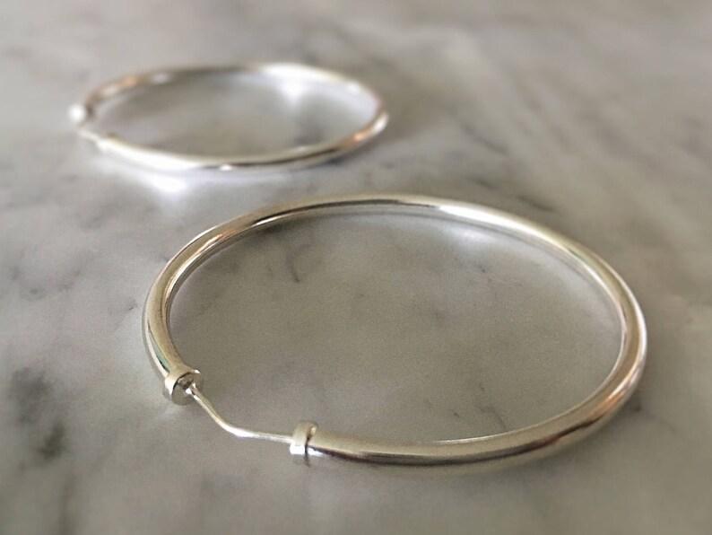 Sterling Silver Hoop Earrings  Large Medium Hoops  925  image 1