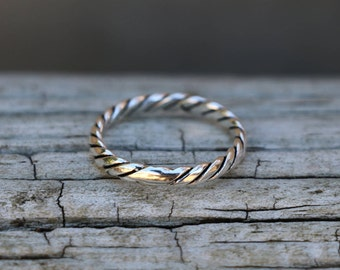 Twist Ring, Rope Ring, Rings, Stackable Rings for Women, Sterling Silver Ring, Silver Ring, Silver Jewellery, Midi Ring, Silver