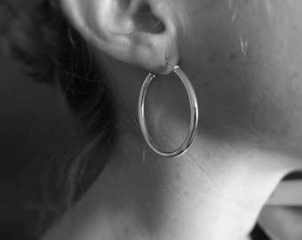 Sterling Silver Hoop Earrings, Large Sterling Silver Hoop Earrings, Silver Hoops, Simple Earrings, Minimalist Jewellery, Modern