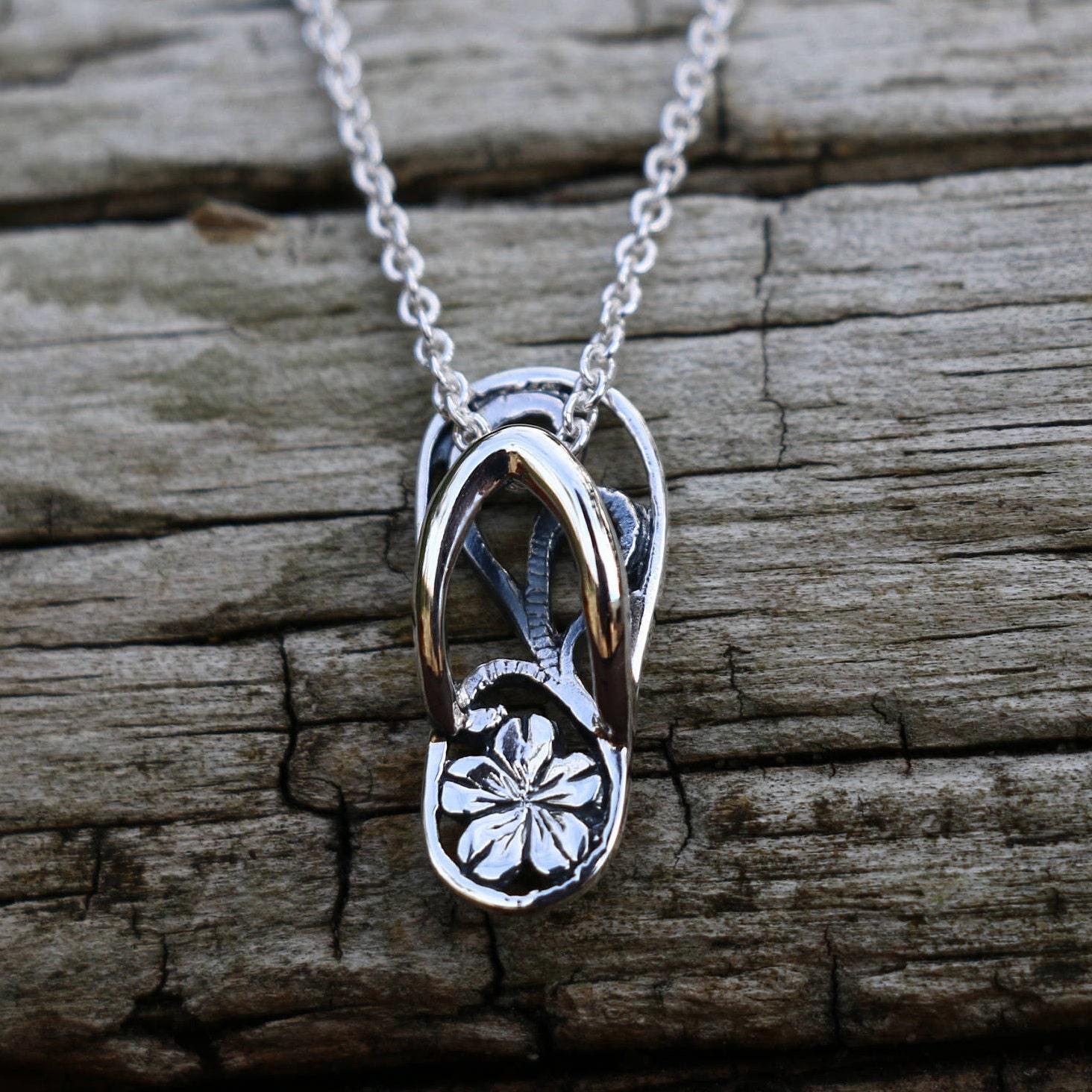 flip flop necklace sterling silver flip flop pendant flip. Black Bedroom Furniture Sets. Home Design Ideas