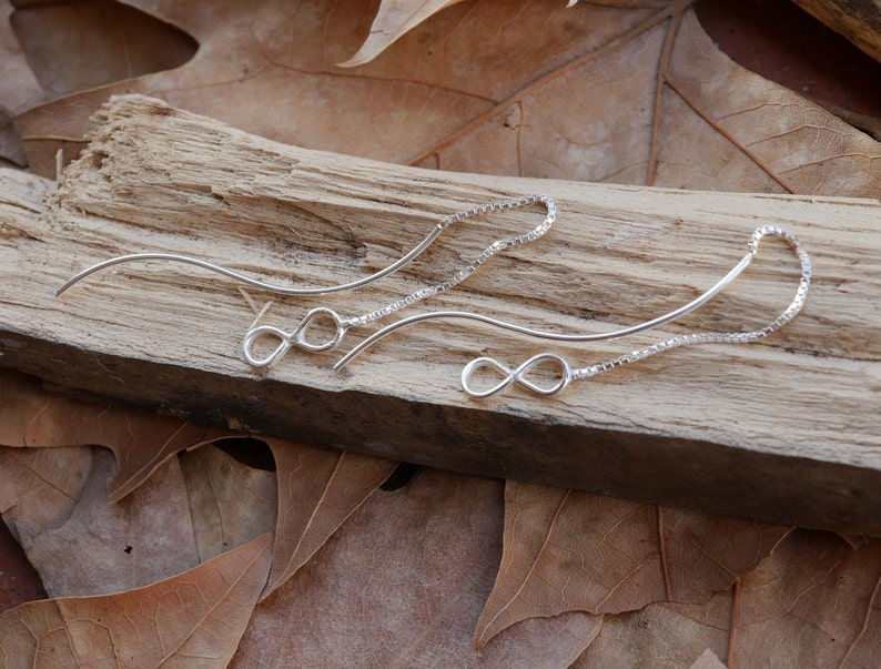 Curved Post Sterling Silver Threader Earrings Unique Infinity