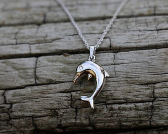 Dolphin Necklace - Gift Idea -  Dolphin Pendant - Dolphin Jewellery - Sterling Silver - Dolphin Jewelry - 18 Inch Cable Chain