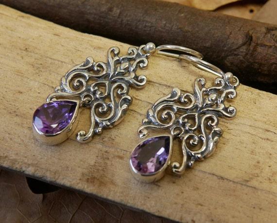 FREE SHIPPING Amethyst sterling silver earrings