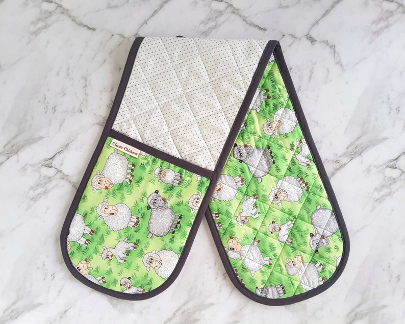 Country Oven Gloves Country Kitchen Sheep Double Oven Gloves Sheep Double Oven Mitt Sheep Gift for Her Cute Sheep Potholder