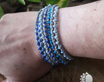 Macrame Bracelet With 3 Strands With Blue Colors of Japanese Beads. Boho chic. Etno Chic.
