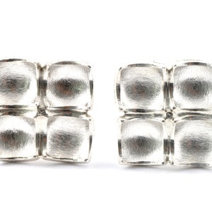 Small handmade oxidized 925 sterling silver ear studs stud earrings square shaped mat surface 6x6 mm for men and women elagant modern unisex