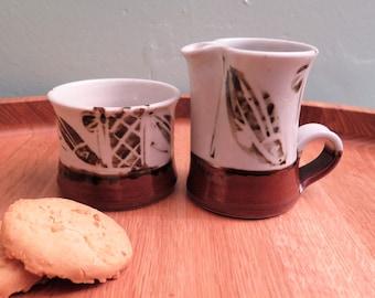 Milk and Sugar Set - Cream and Sugar Set - Crucible Pottery Edinburgh - Ken Cameron - Scottish Pottery - Milk Jug - Sugar Bowl - Fish Design