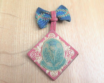 Scottish Brooch - Vintage Scottish Brooch - Vintage Thistle Brooch - Handmade Brooch - Make Do And Mend - Gift for Her - Scottish Gift 1950s