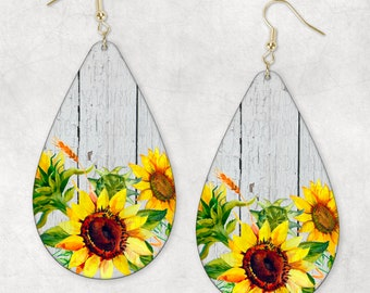 Whitewash & Sunflowers Teardrop Earring Sublimation PNG Digital Download