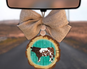 Turquoise Western Cow Car Charm Wood Slice Sublimation PNG Digital Download
