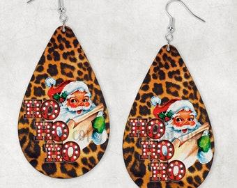 Leopard Print Santa Teardrop Earring Sublimation PNG Digital Download