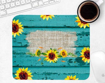 Rustic Turquoise & Sunflower Personalized Mouse Pad Sublimation PNG Digital Download