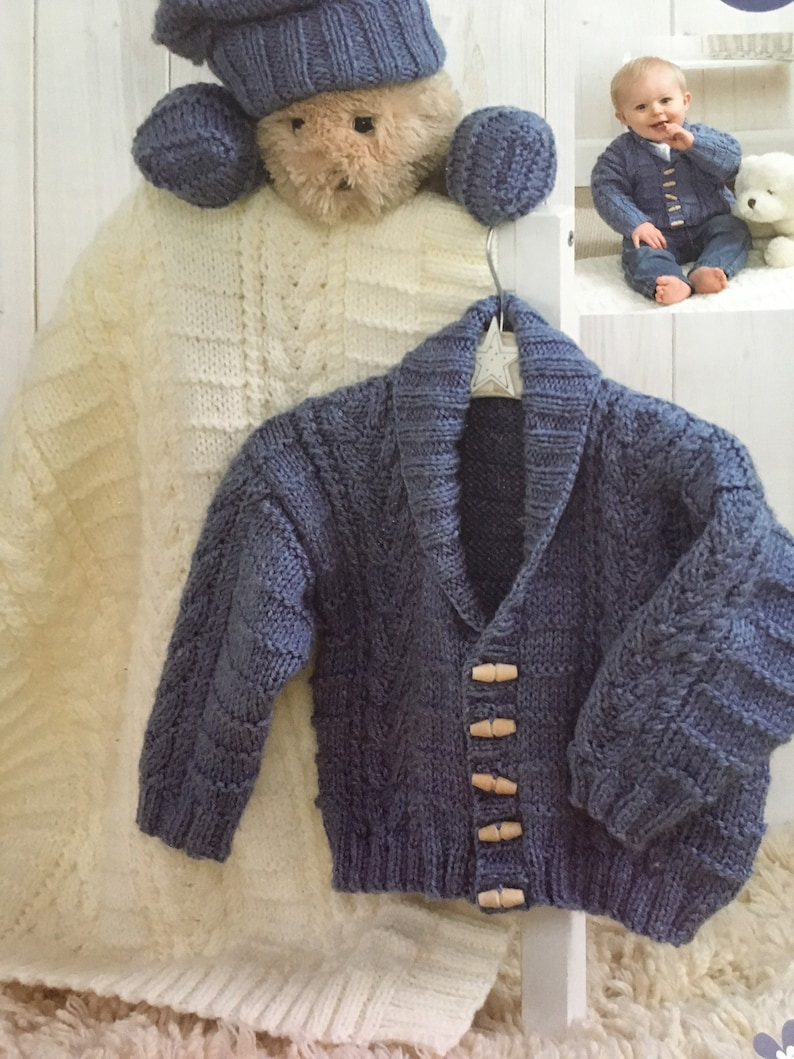 mittens and blanket Baby Aran yarn Knitting pattern for baby jacket 6 sizes from prem to 22\u201d56 cm chest. hat