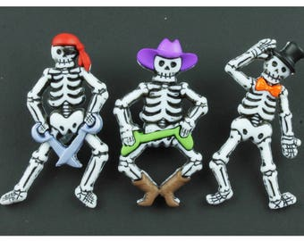 BONE-IFIED CHARACTERS Dress it up Novelty Craft Buttons Skeleton Halloween *Free U.K P&P*