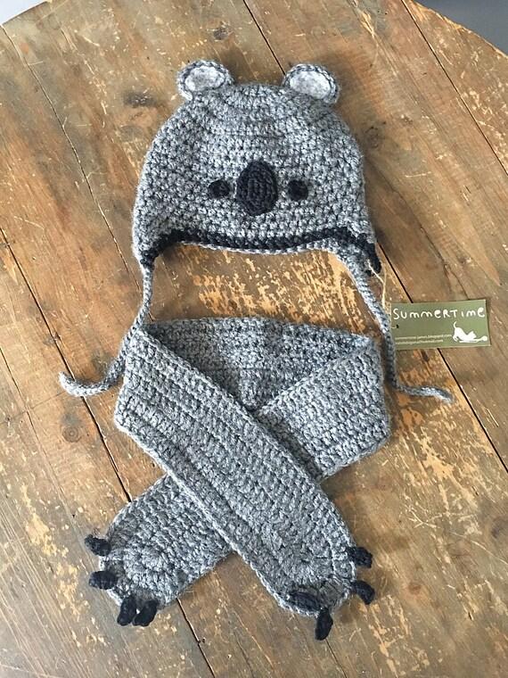 atractivo y duradero oficial de ventas calientes modelos de gran variedad Baby shower,Koala conjunto gorro y bufanda para bebes, crochet, lana  acriclica, recien nacido