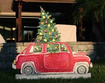 christmas yard art car transporting tree huge almost 4 feet tall