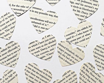 Jane Austen novel hearts, paper craft , mail art , literary paper, embellishment , confetti, jane austen