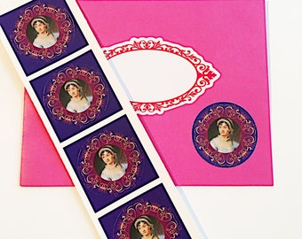Set of 4 Jane Austen Portrait  Stickers