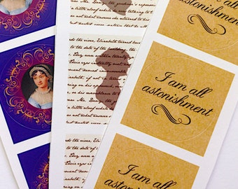 Set of 6  Jane Austen Stickers,