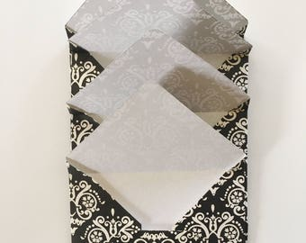 Set of 4 damask designed envelopes, envelopes, jane austen , stationery ,
