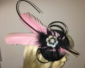 65da224727a Black and Pink Feather & Crystal Fascinator