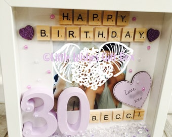 30th Birthday Personalised Photo Box Frame Scrabble Letters Wooden Numbers Hand Painted Unique Added For Free Gifts Her