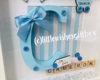2d7232203ef4c Baby Boy birth / child initial box frame New Baby Nursery | Etsy