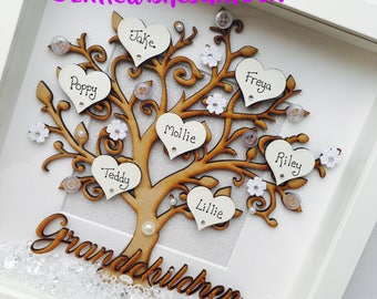 Grandchildren Family Tree Box Frame, freestanding or wall hung, grandkids, grandparents gift up to 12 names added