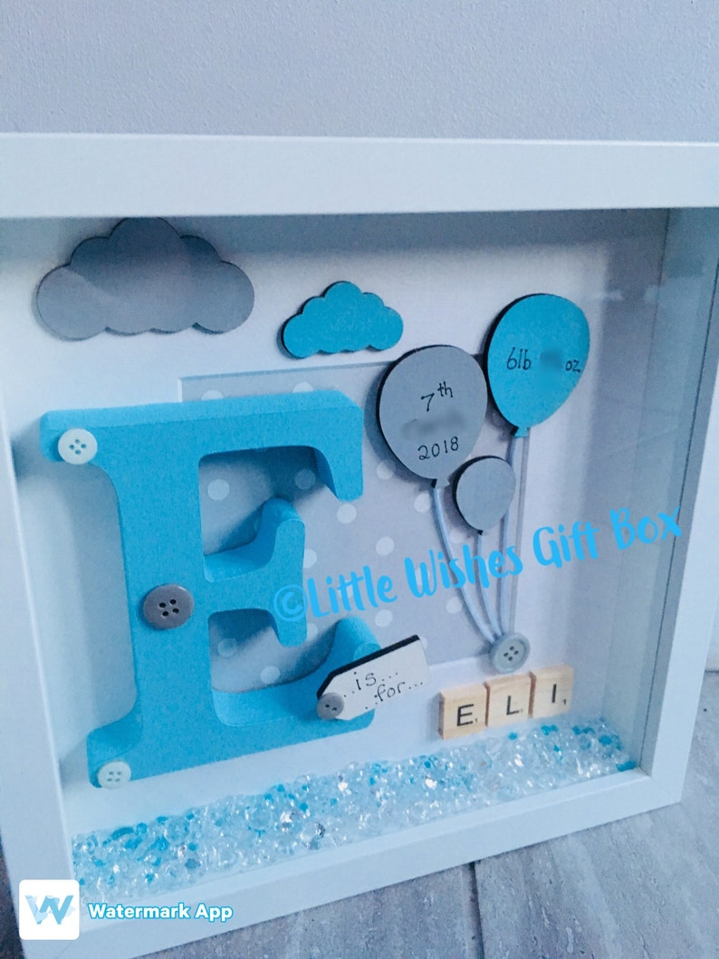 0fd6e2e709230 Baby Boy birth / child initial box frame, New Baby, Nursery decor,  freestanding or wall hung, personalised, handmade & unique, Christening