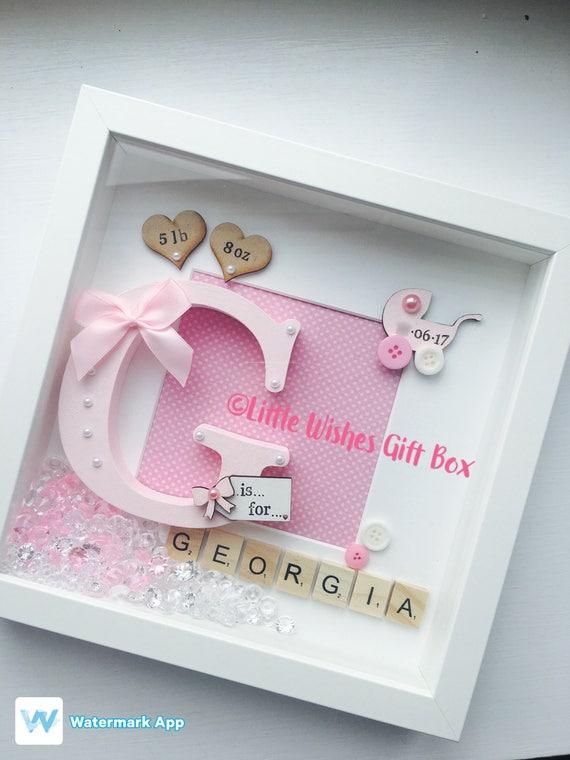 Nacimiento de la muchacha del bebé / niño inicial caja marco | Etsy