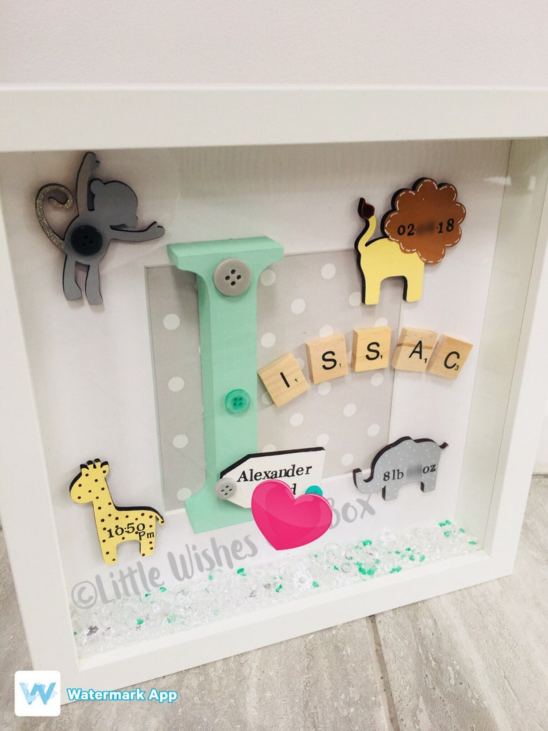 a4470aa520b53 Baby Boy birth / child initial box frame, New Baby, jungle theme,  freestanding or wall hung, personalised, handmade & unique, Christening