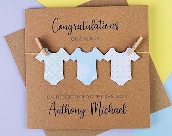 Personalised new Grandson card, New Grandparents Card, Baby boy Card, New Baby Card, Congratulations Grandparents, New Born Card