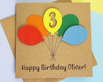 3rd birthday card, Third birthday card, Handmade birthday card with name and balloons, Personalised birthday card, Birthday card with name