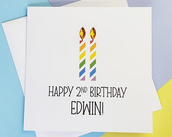 Personalised 2nd birthday card, Second birthday card, Third Birthday candles card, 3rd birthday card with name, Choose your age, Kids card