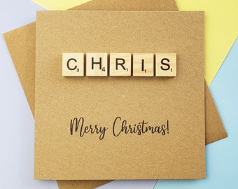 Scrabble Christmas card, Personalised Scrabble card, Name in wooden Scrabble tiles, Custom handmade card, Merry Christmas card