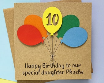 10th birthday card, Personalised tenth birthday card with number, Card with name, Bright card with balloons, Kraft card or white card