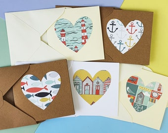 Nautical blank cards, Mini cards, Coastal themed note cards, Beach notecards, Heart thank you cards with boats, fish, beach huts, shell