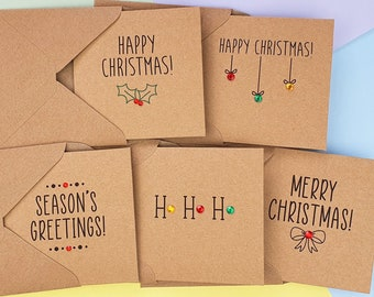 Pack of 5 Cute Christmas cards with gems, Modern Kraft Merry Christmas cards, Holly and berries, Baubles, Gold, Red and Green sweet cards