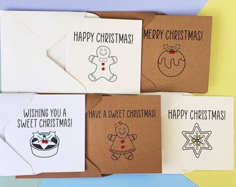 Mini Christmas cards pack, Sweet Christmas cards with gems, Modern Christmas cards featuring: Mince pie, Christmas Pudding, Gingerbread Man