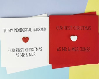First Christmas Married Christmas Card, 1st Christmas as Mr & Mrs, Married Couple Christmas Card, Ceramic heart card, Personalised card