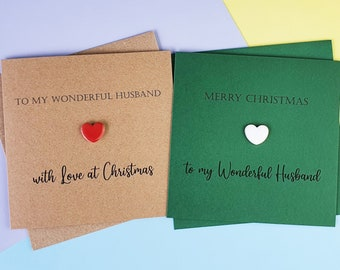 Husband Christmas card, Christmas card for Husband, Ceramic heart handmade card, Xmas card for Hubby, Romantic Christmas card: Green, red