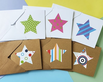 Bright stars blank cards, Handmade mini cards pack, You're a star cards, Thank you cards, stripes, spots, Kraft Teacher cards from Students