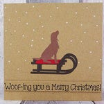 Spaniel handmade Christmas card, Colour choice: Brown or black, Springer Spaniel, Cocker Spaniel, Dog on a sled, Sleigh, Snowy scene