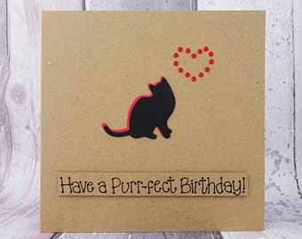 Cat birthday card, Funny birthday card, Handmade birthday card, Black cat card, Personalised birthday card, Pun card, Card from the cat