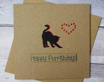 Cat birthday card, Handmade birthday card, Personalised card, Personalized card, Birthday card with a name, Cat card, Pun card, Funny card