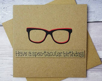 Funny birthday card, Spectacles Happy Birthday card, Birthday card with glasses, Personalised card with name, For him, Brother, Son, Husband