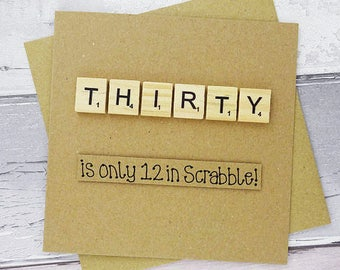 30th Birthday Card Thirty Scrabble Funny Thirtieth Handmade Tile Happy 30