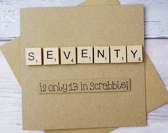 70th Birthday Card Seventieth Scrabble Funny Handmade Tile Happy Wooden Alphabet Tiles